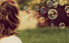 Picture summer, mood, bubbles, girl, bubbles
