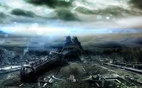 Picture Paris, The sky, Clouds, Apocalypse, Eiffel tower, Destruction, Clearance, Darkness.