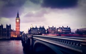 Picture clouds, bridge, rain, London, excerpt, Big Ben