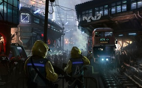 Picture night, the city, future, people, rain, building, bus