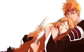 Picture girl, sword, love, game, Bleach, anime, katana, man, hug, hero, asian, Kurosaki Ichigo, manga, japanese, …