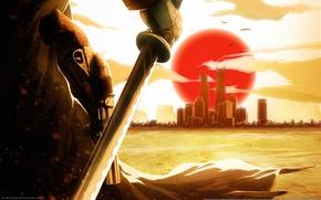 Wallpaper Red Steel 2, revolver, katana, the city, sunset