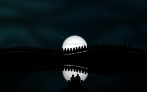 Picture night, reflection, the moon, vector, pair