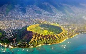 Wallpaper sea, Hawaii, USA, crater, the island of Oahu