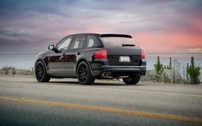 Picture sunset, black, cayenne, porsche, Porsche, black