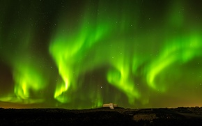 Picture the sky, night, Northern lights, Iceland, Blue Lagoon