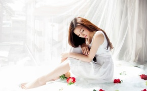 Picture girl, mood, roses