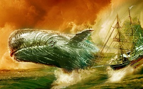 Picture sea, ship, kit, art, Moby Dick, White whale, Moby Dick