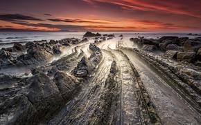 Picture landscape, rock. shore, Barrika, Basque Country