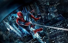 Picture night, skyscrapers, flies, Spider-man, Spider-Man, Amazing spider-man, Platina