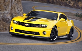 Picture car, yellow, strip, lights, tuning, glasses, male, is, black, camaro, chevrolet, yellow, tuning, driving, wheel, ...
