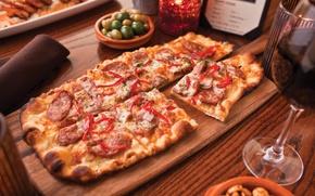 Wallpaper table, wine, glass, food, Italy, Board, pizza, pizza