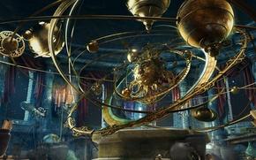 Picture fantasy, planet, candles, steampunk, vases, planetarium