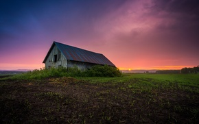 Picture field, sunset, the barn