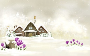 Picture Winter, White, New Year, Houses