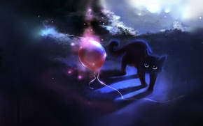 Picture cat, figure, ball, cat, apofiss, a balloon
