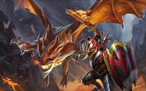 Picture dragon, knight, dragon, dota2, knight