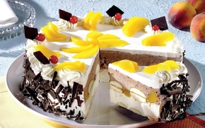 Picture yellow, food, food, sweets, cake, fruit, peach, dessert, slices, delicious