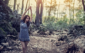 Picture Girl, Nature, Legs, Model, Sun, Forest, Hands