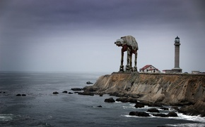 Picture coast, lighthouse, robot