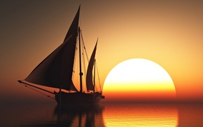 Picture sky, sea, sunset, sun, romantic, beauty, orange, boat, emotions, sailing