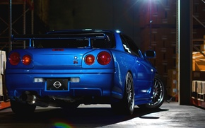 Picture car, Nissan, Nissan, blue, gtr, r34, machine from the movie