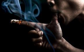 Picture smoke, hand, fingers, Stop Smoke