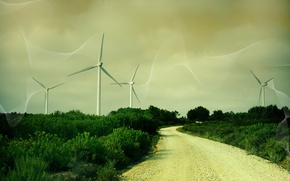 Wallpaper road, Windmills, line, grass