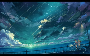 Picture the sky, girl, stars, clouds, landscape, nature, bike, the ocean, anime, art, lights, guy, haraguroi …