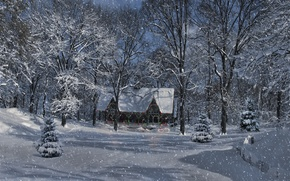Picture winter, forest, snow, trees, landscape, lights, house, light bulb