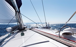 Picture yacht, tourism, ship, freedom, squirt, sea, wave, summer, horizon, calm, sky, white, space, the course, ...