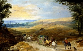 Picture picture, wagon, rider, A landscape with Travelers, Jan Brueghel the elder
