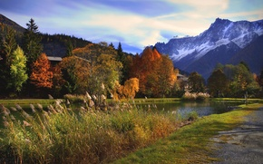 Picture the sky, clouds, trees, mountains, river, blue, Autumn, day