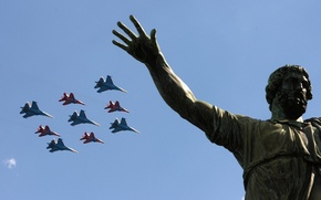 Picture Su-34, Victory Day, Russian Knights, Red Square, May 9, Rehearsal
