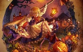 Picture girl, game, anime, art, halloween, touhou, remilia scarlet, alice margatroid, kirisame marisa, shanghai, flandre scarlet, …