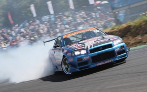 Picture nissan, turbo, wheels, drift, skyline, japan, smoke, Nissan, jdm, tuning, gtr, front, speed, burnout, r34, …