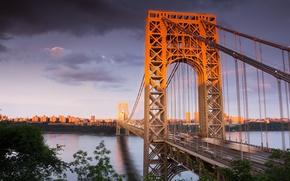 Picture city, metal, river, Bridge