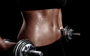 Picture woman, fitness, training, weights