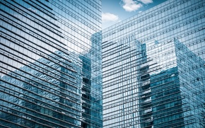 Picture glass, the city, reflection, the building, skyscraper