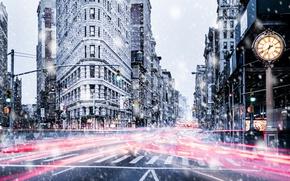 Picture light, snow, the city, street, Manhattan, USA