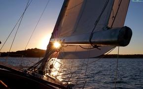 Wallpaper sea, sunset, the way, yacht