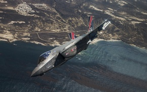 Wallpaper flight, bomber, fighter, Lightning II, F-35