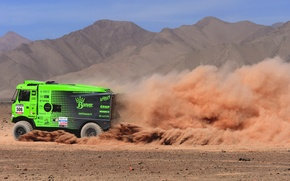 Picture Dust, Sport, Desert, Green, Truck, Race, Heat, Rally, Dakar, Championship, Side view, Ginaf, X 222, ...