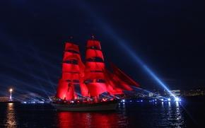 Wallpaper Night, Ship, Saint Petersburg, Scarlet sails, Prom