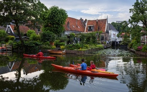Picture trees, home, boats, channel, Netherlands, Canoeing, Edam