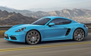 Picture Porsche, Cayman, Blue, Porsche, Blue, Coupe, 718