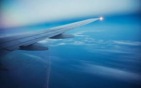 Picture sea, the sky, Islands, clouds, flight, the plane, wing, blur, sky, aircraft, flight, clouds, airplane, ...