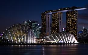 Picture night, lights, river, building, construction, Singapore, promenade, Marina Bay Sands