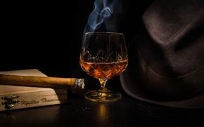 Picture glass, hat, alcohol, cigar, cognac