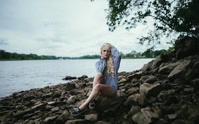 Picture Beach, Lake, Blonde, Legs